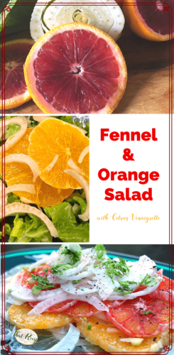 collage of fennel and orange salad