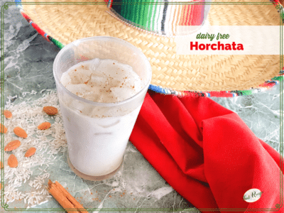 glass of dairy free Horchata with rice, almonds and cinnamon