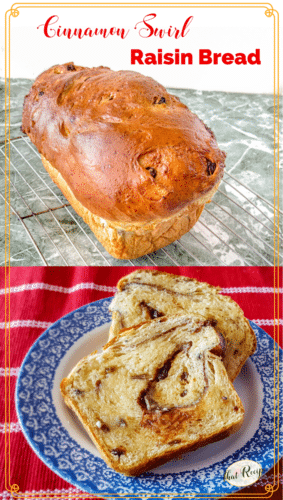 collage or cinnamon swirl raisin bread with text overlay