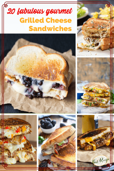 collage of gourmet grilled cheese sandwiches