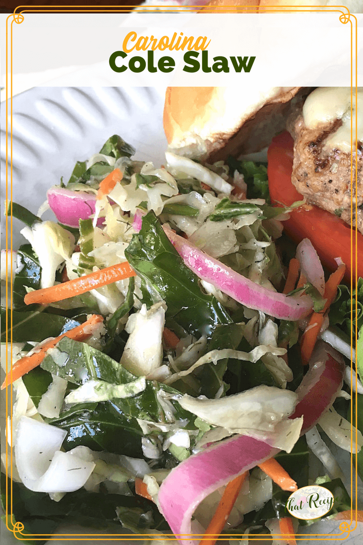 This Carolina Coleslaw combines cabbage and kale with a tangy vinaigrette perfect for your next barbecue. #dairyfreecoleslaw #coleslawrecipe