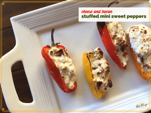 cheese and bacon stuffed mini peppers on a plate