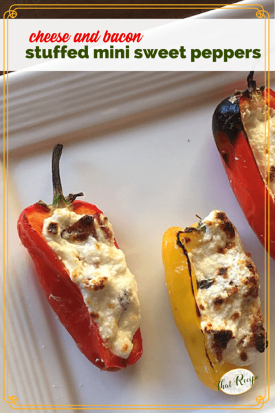 Cheese and Bacon stuffed Mini Sweet Peppers on a plate