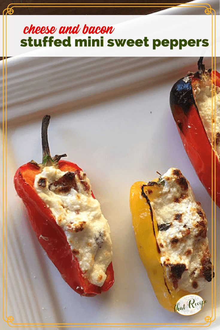 Cheese and Bacon Stuffed Mini Peppers make a deliciously simple appetizer for summer entertaining. #summerappetizer #sweetpepperrecipe #easyappetizer