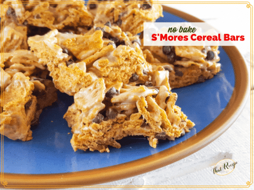 S'mores Cereal Bars on a plate.