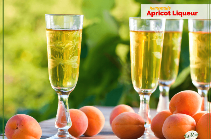 "glasses of liqueur and apricots on a table with text ""Homemade Apricot liqueur"""