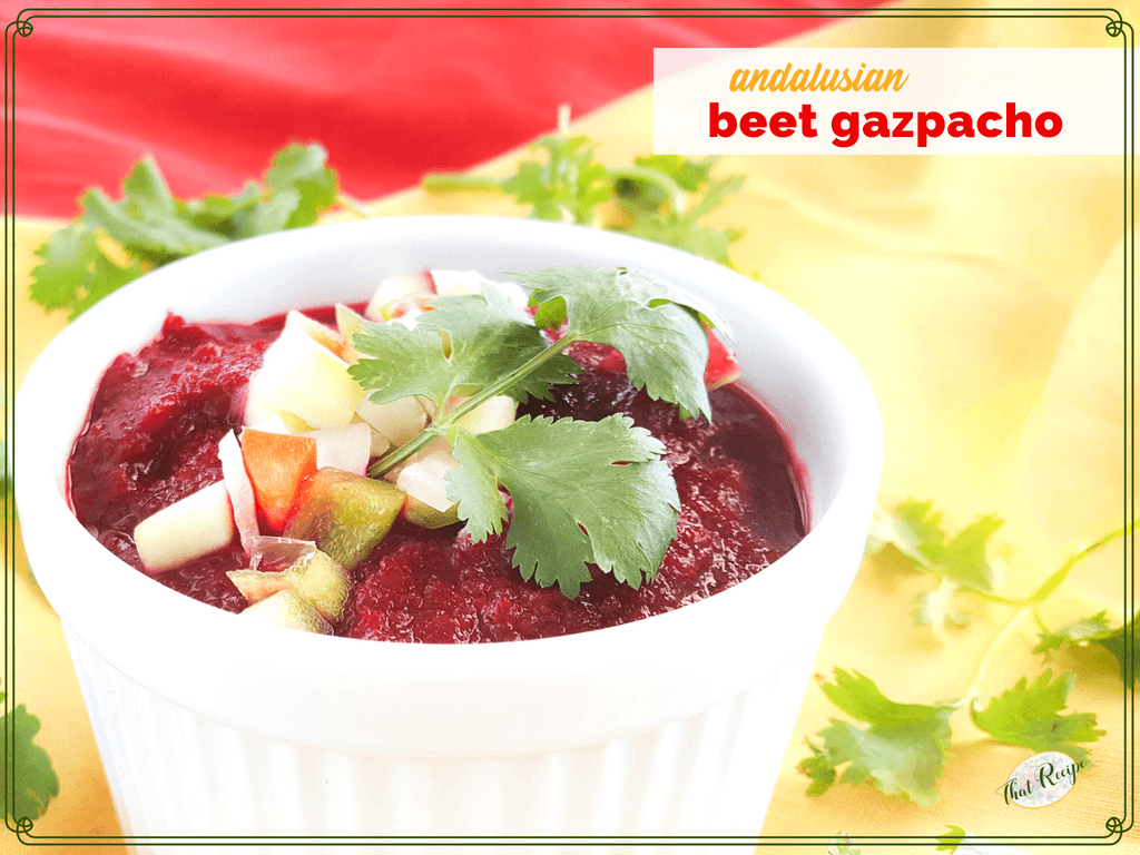 bowl of beet gazpacho