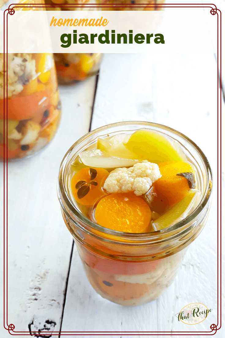 Add a touch of Italy to your meals with Homemade Giardiniera. This easy pickled vegetable recipe is great as an antipasto or on a salad or sandwich. #giardiniera #homemadepickles #vegetablepickles