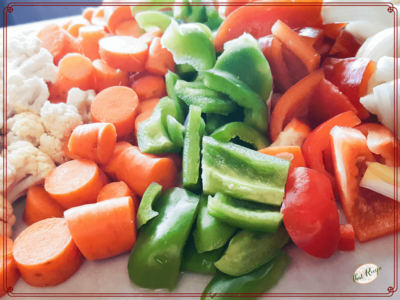 vegetables on cutting board for giardiniera