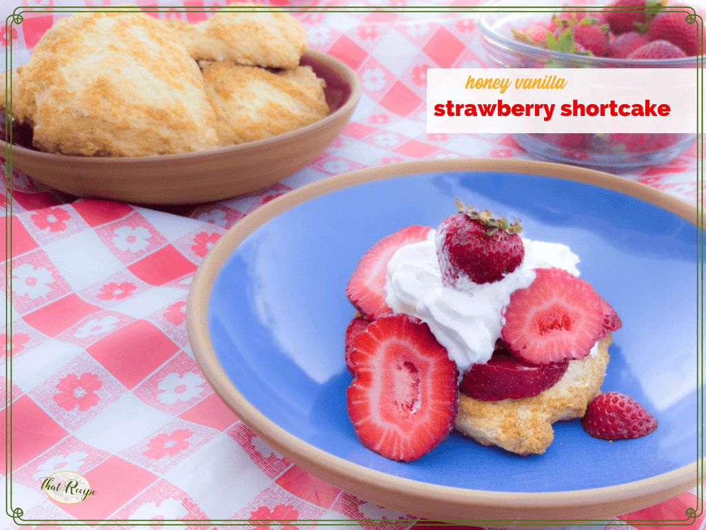 "strawberry shortcake on a blue plate with strawberries and shortcake in the background and text overlay ""Honey Vanilla Strawberry Shortcake"""