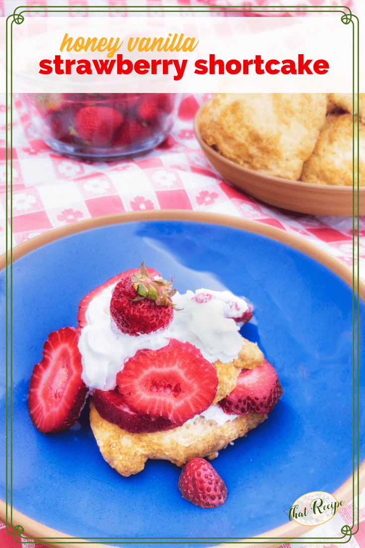 Strawberry Shortcake with an extra touch of honey and butter makes a delightful summer dessert. #strawberryshortcake #summerdessert