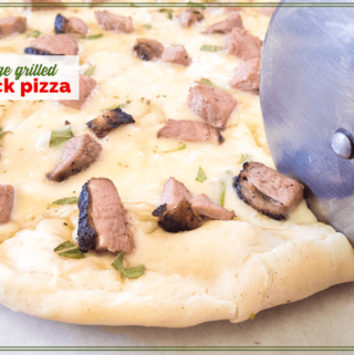 """close up of pizza being sliced with text overlay """"Sage Grilled Duck Pizza"""""""