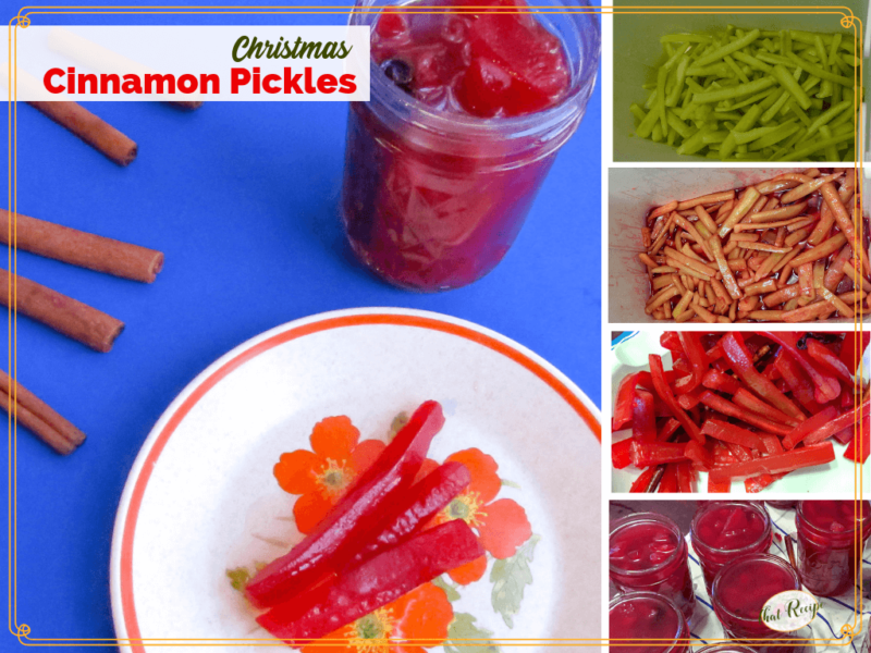 stages of making cinnamon red hot pickles