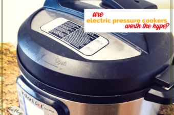 "close up of instant pot with text ""are electric pressure cookers worth the hype?"""