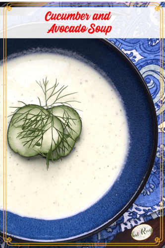 blue bowl with cucumber soup