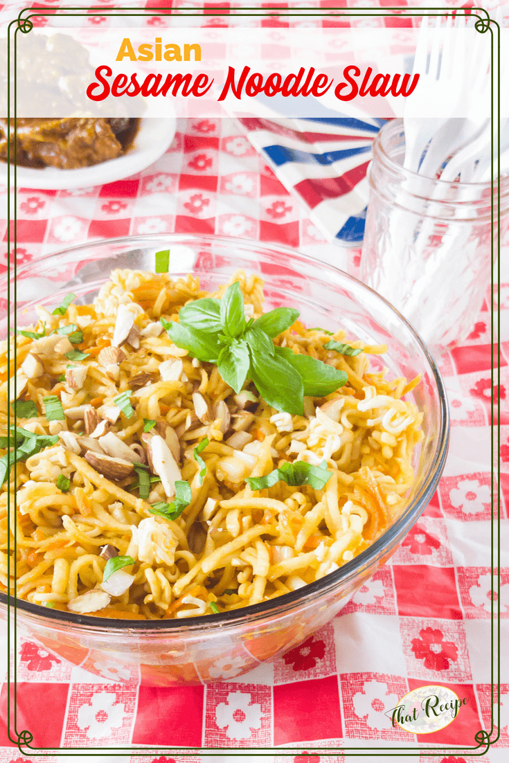 This Asian Sesame Noodle Slaw is a delightful change from traditional coleslaw. Perfect for a barbecue, cookout or Asian meal at home. For a twist make this with kohlrabi instead of cabbage. #asianslaw #dairyfreeslaw #barbecuesidedish