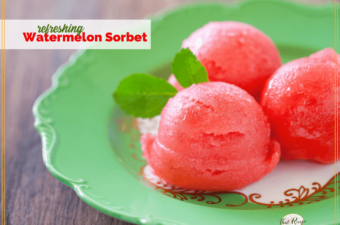 watermelon sorbet on a green plate with text overlay