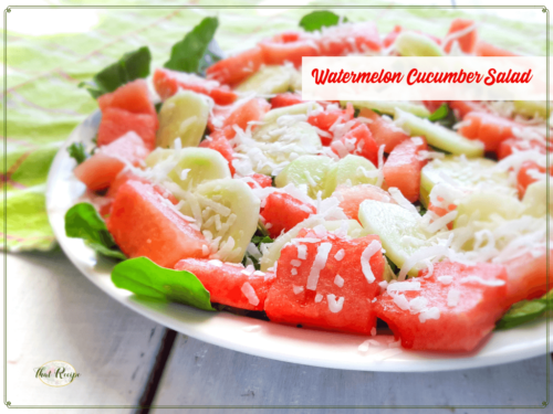 tropical watermelon cucumber salad on a plate