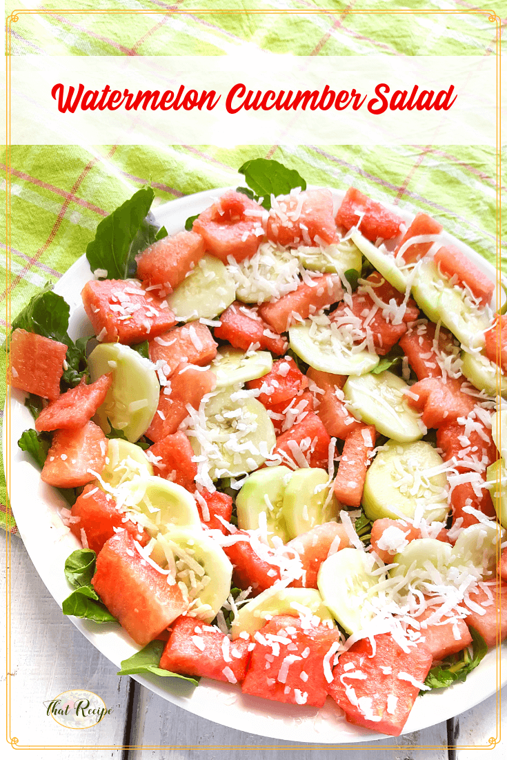 Cool off on a hot day with this light and refreshing Tropical Watermelon Cucumber Salad. #summersalad #watermelonsalad