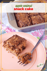 """piece of cake on a plate with pan of cake in the background and text overlay """"apple walnut snack cake"""""""