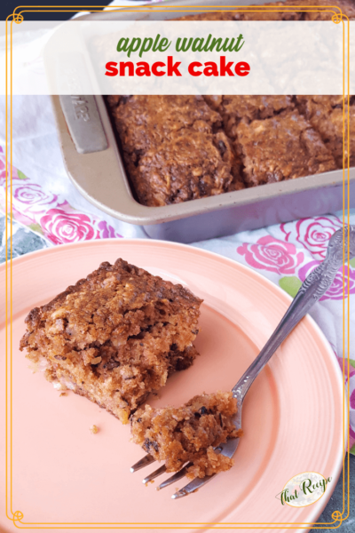 "piece of cake on a plate with pan of cake in the background and text overlay ""apple walnut snack cake"""