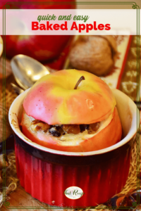 """baked apple in a ramekin with text overlay """"quick and easy baked apples"""""""