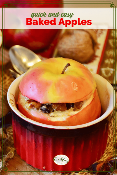 "baked apple in a ramekin with text overlay ""quick and easy baked apples"""