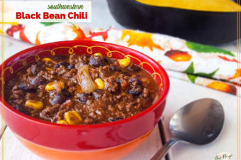 bowl of black bean chili with cornbread