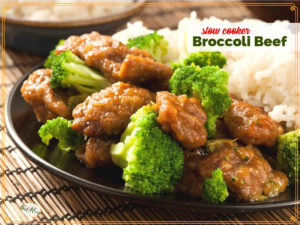 "broccoli beef with rice on a plate with text overlay ""slow cooker broccoli beef"""