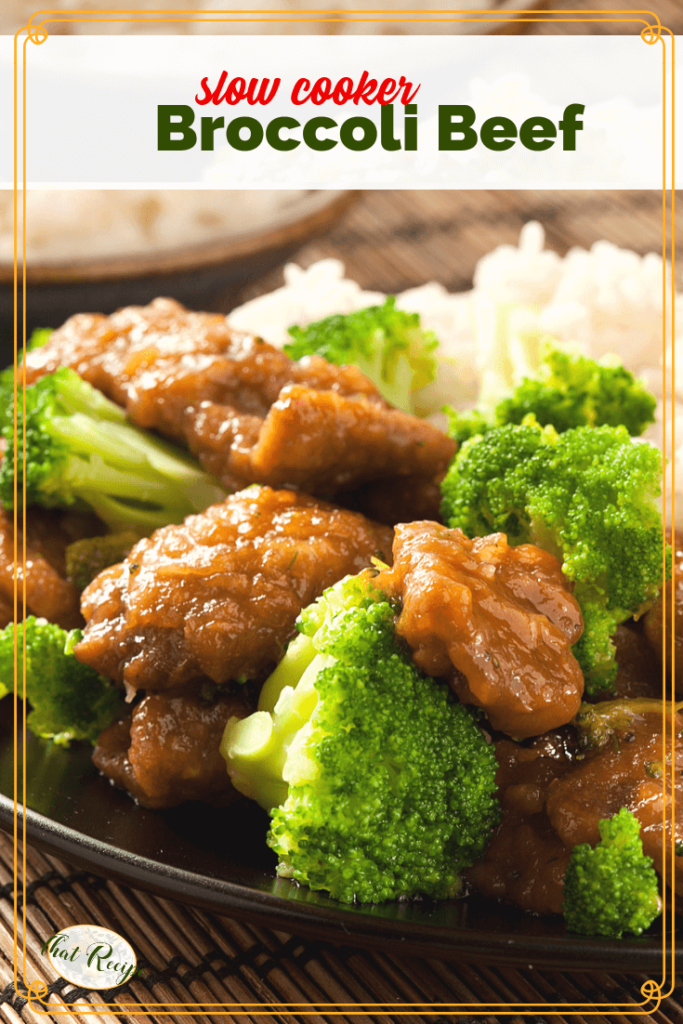 """broccoli beef with rice on a plate with text overlay """"slow cooker broccoli beef"""""""
