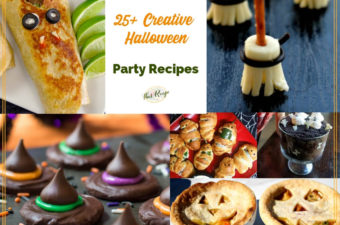 "collage of Halloween recipes with text overlay ""25+ Creative Halloween Party Recipes"""