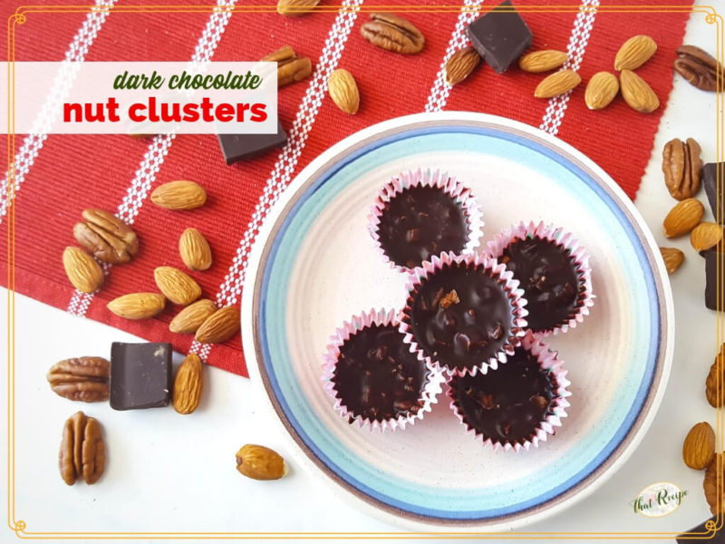 dark chocolate nut clusters on a plate