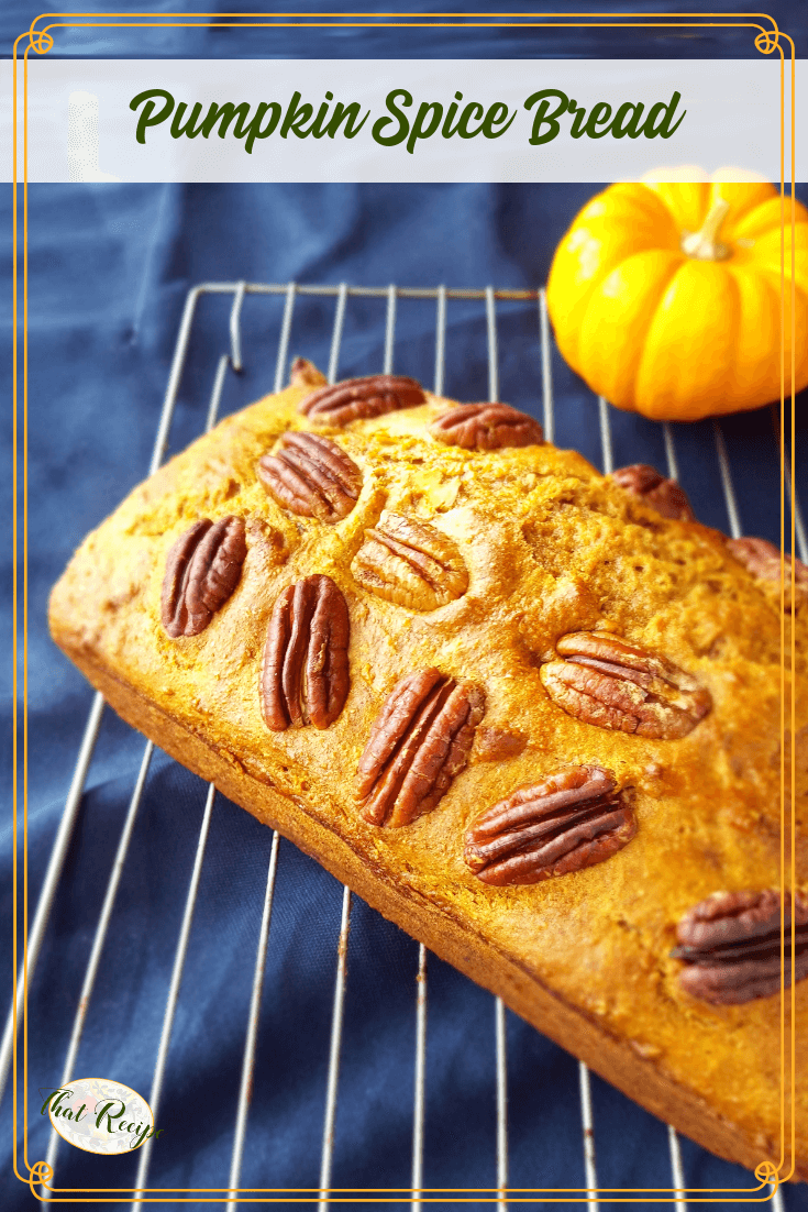 Easy Nutty Pumpkin Spice Bread is bursting with fall flavors of pumpkin, spices and pecans. Made healthier with whole wheat flour, low fat and sugar. #pumpkinbread #pumpkinspice #pumpkinrecipes #quickbread #thatrecipeblog