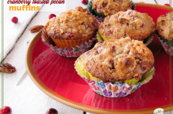 plate of cranberry pecan muffins