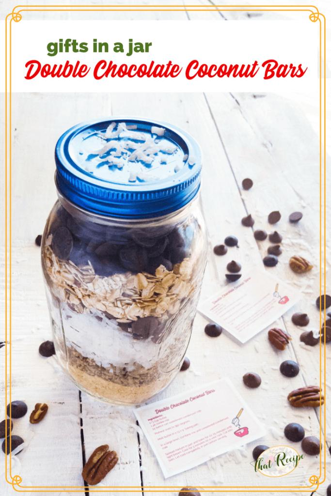 Double chocolate coconut bar mix in a jar