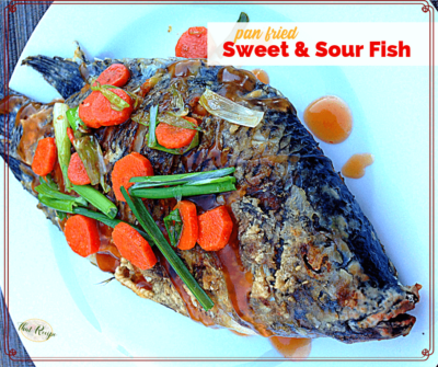 "whole fish on a plate with text overlay ""Pan Fried Sweet and Sour Fish"""