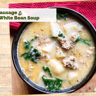 top down view of Tuscan Sausage and White Bean Soup