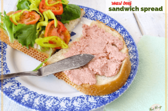 roast beef sandwich spread on a sandwich