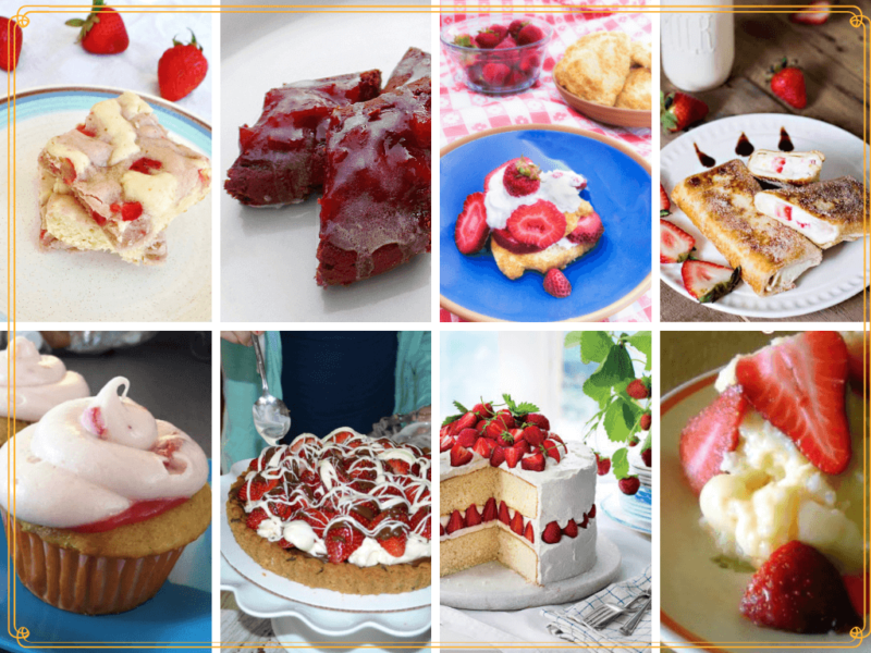 collage of baked fresh strawberry desserts