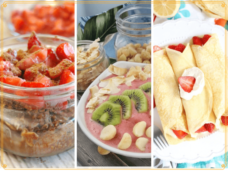 collage of strawberry breakfasts
