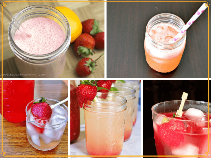 collage of strawberry drinks