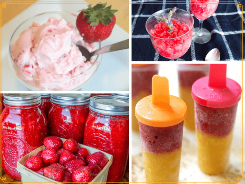 collage of frozen strawberry treats