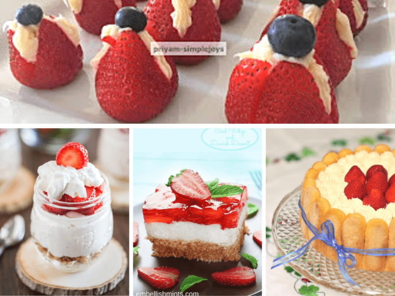 collage of no bake fresh strawberry desserts