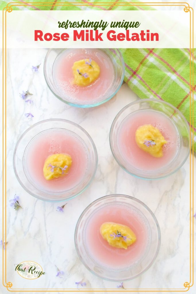 "rose milk gelating in cups on a marble slab with rosemary flowers and tea towel with text overlay ""Rose Milk Gelatin"""