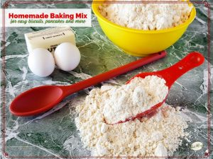 homemade biscuit mix on counter with ingredients for pancakes