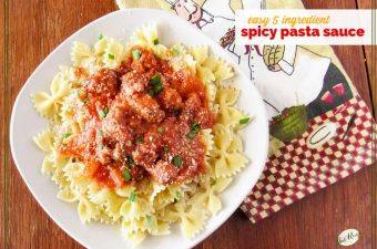 "Bow tie pasta on a plate covered in sausage pasta sauce with text overlay ""Easy 5 Ingredient Pasta Sauce"