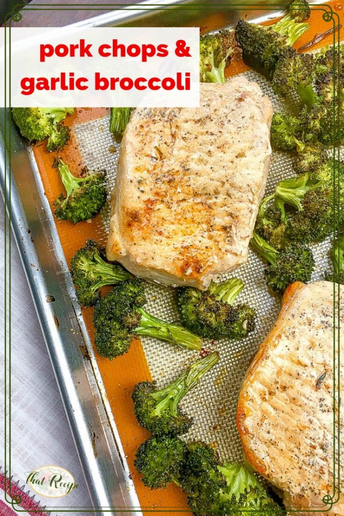 roasted pork chops and broccoli on a sheet pan.