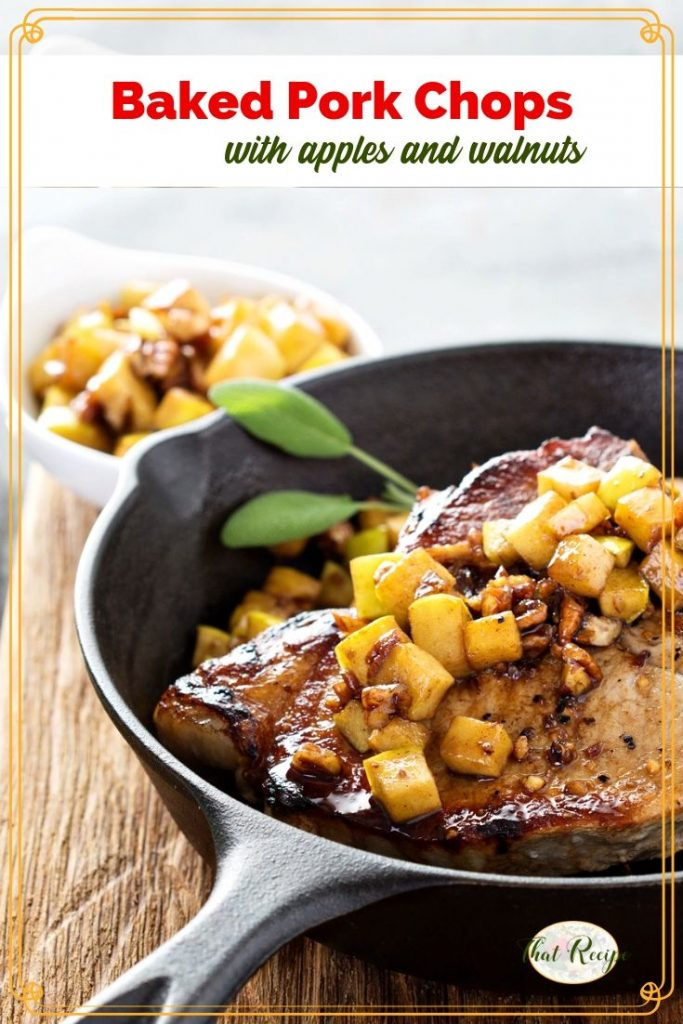 pork chops with apples on top in a cast iron skillet