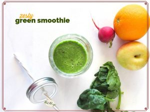 """green smoothie plus ingredients on a white background with text overlay """"zesty green smoothie"""""""