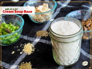 dry cream soup base mix in a jar with containers of mushrooms, asparagus and chicken.
